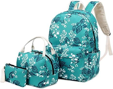 Gallity - Juego de mochilas escolares para niñas con bolsa de almuerzo y estuche para lápices, juego