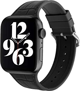 JIEBAO [Leather Texture Design] Silicone Sport Band Compatible with Apple Watch Series 6/5/4/3/2/1/SE 38mm 40mm 42mm 44mm, Replacement Strap Classic Loops Women/Men Compatible with iWatch