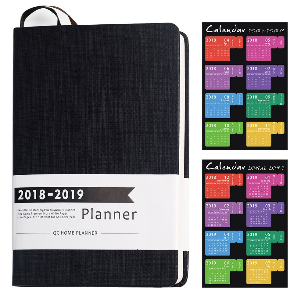 2018 Planner with No Date Design Academic Weekly, Monthly and Yearly Planner Sturdy PU Cover and Thick Paper Efficient Layout to Achieve Your Goals & Improve Productivity, 8.25''x5.75'' (Black Strips)
