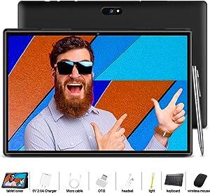 10.1 inch Tablet, Android 9.0 Tablet PC Quad-Core with 3GB RAM, 32GB Storage,8MPDual Camera Dual SIM,GPS,Bluetooth,WiFi -Black