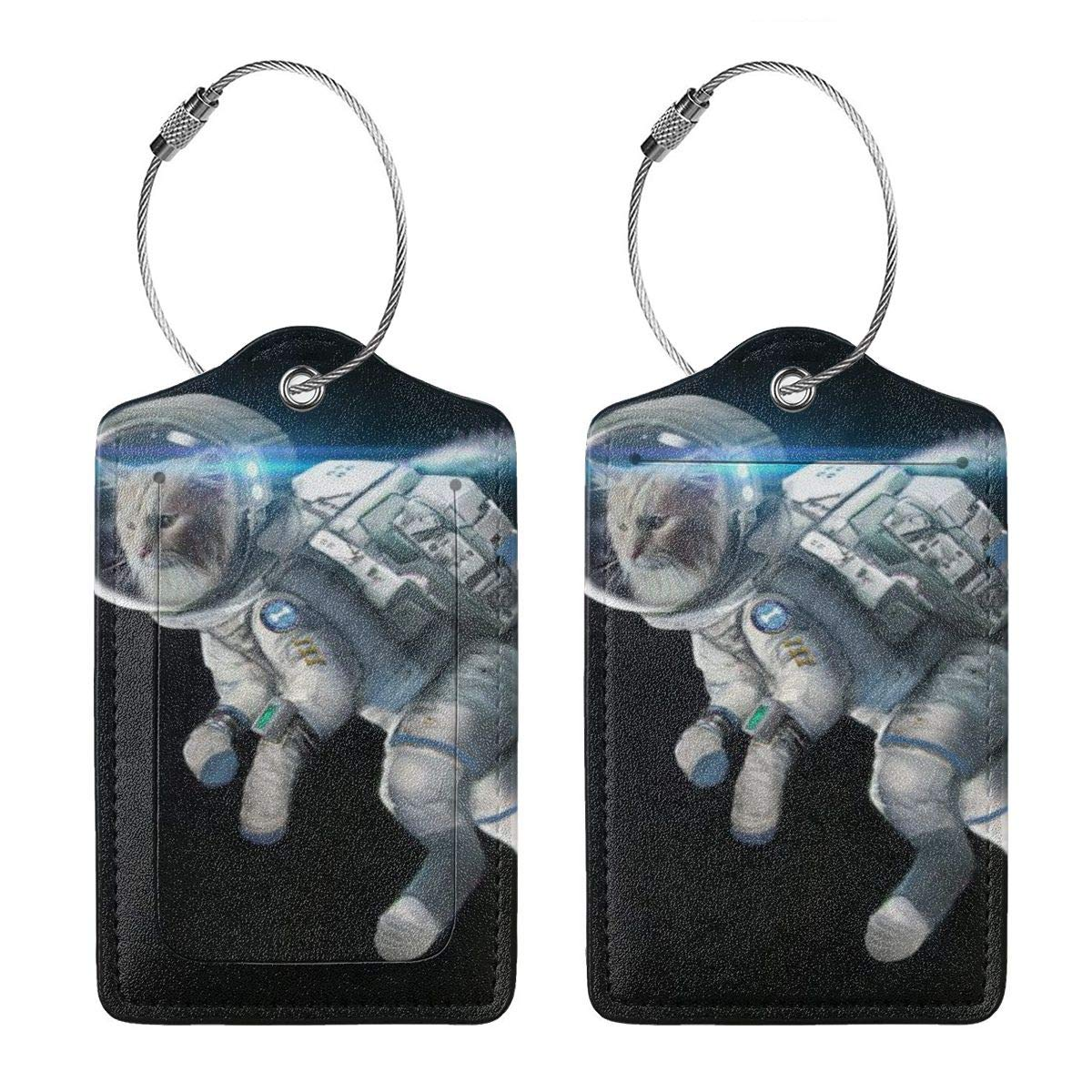 Godzigod Luggage Tags Leather Case Suitcase Label with Stainless Steel Loop Bag Baggage Tote Tags Travel Tags Cat in Space Helmet