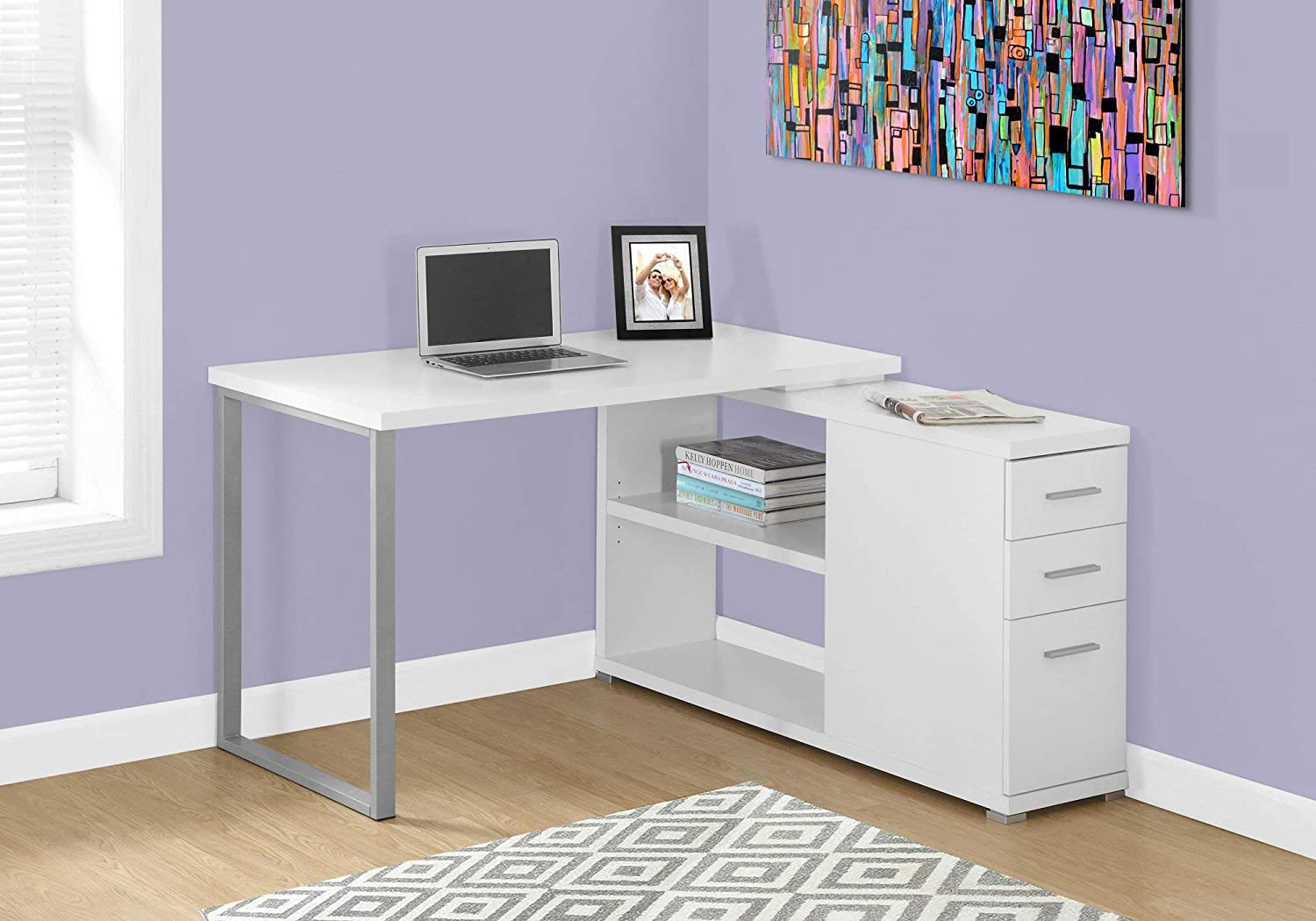 "Monarch Specialties Computer L-Shaped-Left or Right Set Up-Contemporary  Style Corner Desk with Open Shelves and Drawers, 35"" L, White"