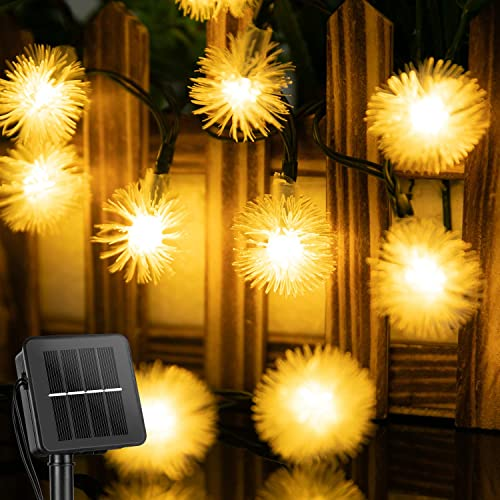 Solar Snow Ball String Lights Outdoor 35.6 FT 60 LED Waterproof Fairy Lights with 8 Lighting Modes, Solar Powered Decorative Lights for Patio Yard Garden Wedding Christmas Party Warm White