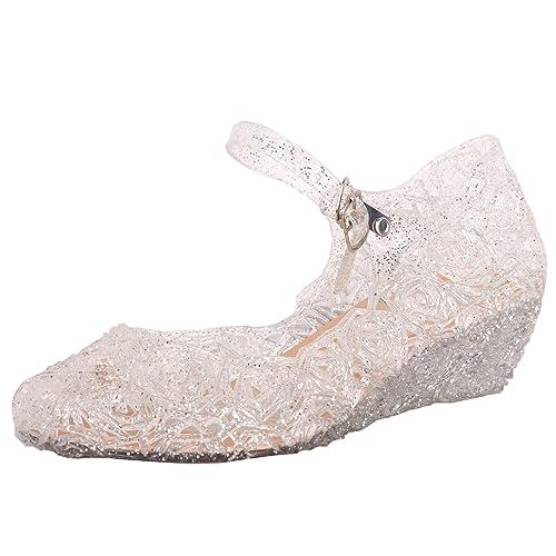 Tyidalin Ballerina Scarpe Ragazza Principessa Costume Ballet Slipper Tacco  Festive per 3 a 12 Anni Blue c6c871e57e9