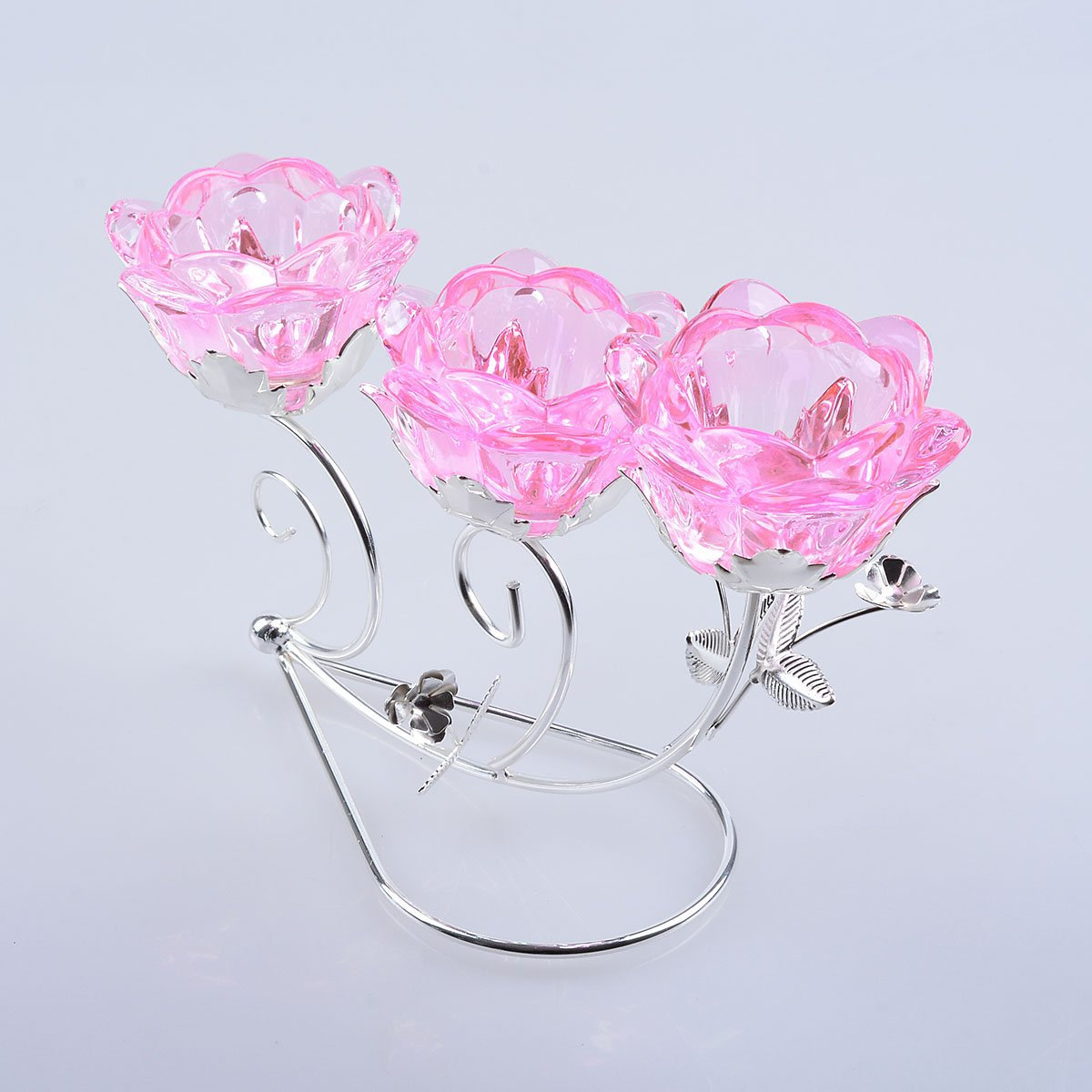 LONGWIN Rose Blossom 3-tealight Candle Holders Wedding Centerpieces Peach