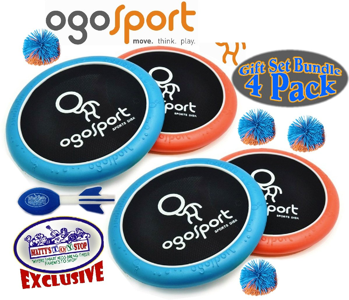 Ogo Sport 15'' Mezo OgoDisk, Ogo Soft Ball & Exclusive ''Matty's Toy Stop'' Mini Aero Football Deluxe Family Gift Set Bundle - 4 Pack by OgoSport