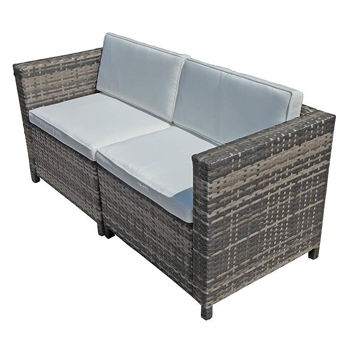 Amazon.com: OC - Sofá y silla de mimbre con cojines de ...