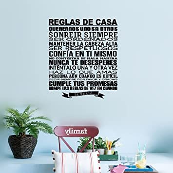 Amazon Com Earck Wall Sticker Quotes Spanish House Rules Wall
