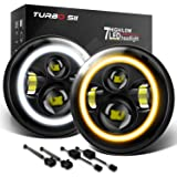 TURBO SII 7inch Round Halo LED Headlights White DRL Amber Turn Signal Light for H6024 1997-2018 TJ LJ JK JKU Unlimited…