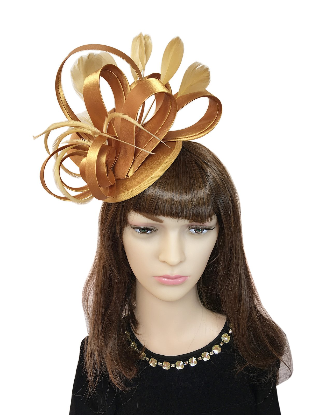 YSJOY Womens Fascinator Hair Clip Derby Hat For 50th Birthday Anniversary Cocktail Party Headwear (Gold)