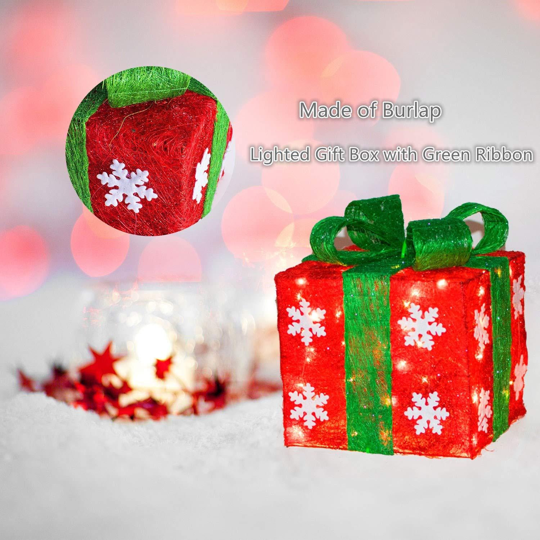 Amazon.com: Lighted Christmas Gift Box Set Decor - Set of 3 ...