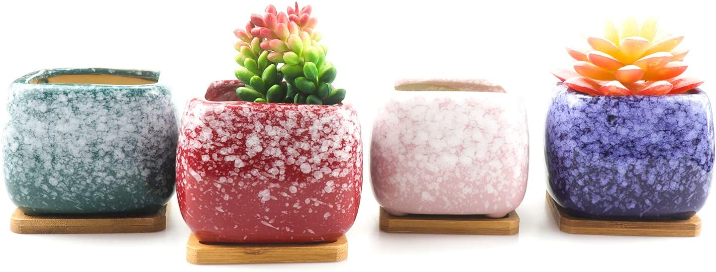 ROSE CREATE 4 pcs 3.5 Inches Ceramic Succulent Planters – with Bamboo Trays, Small Plant Cactus Bonsai Flower Container Pots Gift with a Drainage Hole for Windowsill and Office Table Home Decor