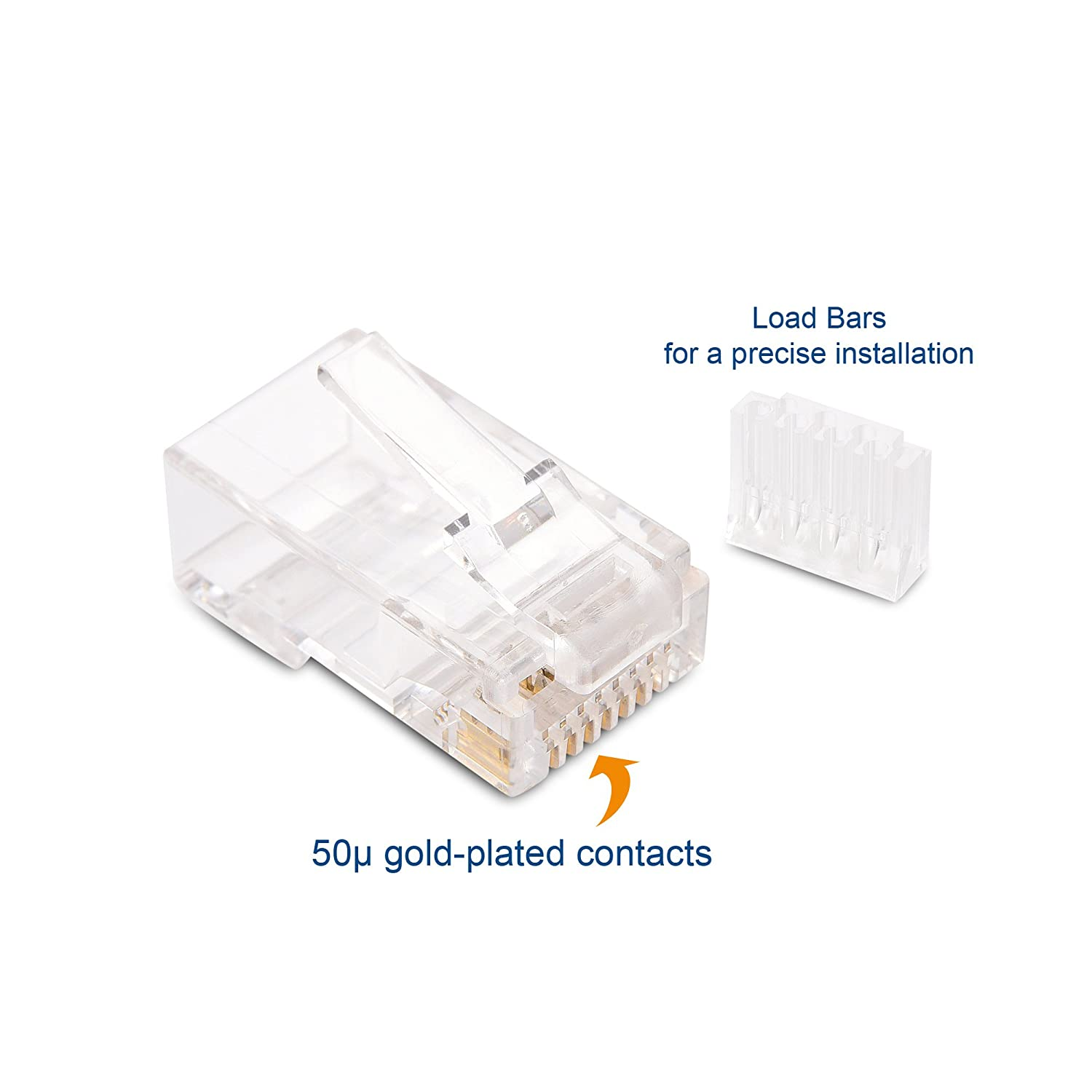 Amazon.com: Cable Matters (200-Pack) Cat 6 RJ45 Modular Plugs with Load Bars  for Solid UTP Cable: Computers & Accessories