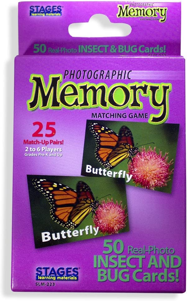 Stages Learning Materials Picture Memory Insects and Bugs Card Game Real Photo Concentration Game for Home, Family, Preschool & Kindergarten Education