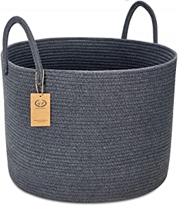 """GreenPastures XXL Cotton Rope Basket, 20'' x 15"""" Woven Laundry Basket with Long Handles, Baby Kids Dogs Toy Bins Storage, Decorative Blanket Baskets in Living Room (Full Dark Gray)"""