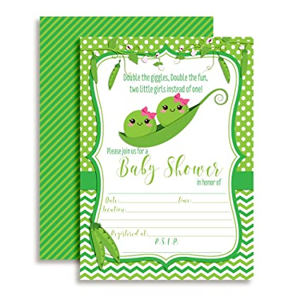 Amazon Com Two Peas In A Pod Twin Girl Baby Shower Invitations Ten