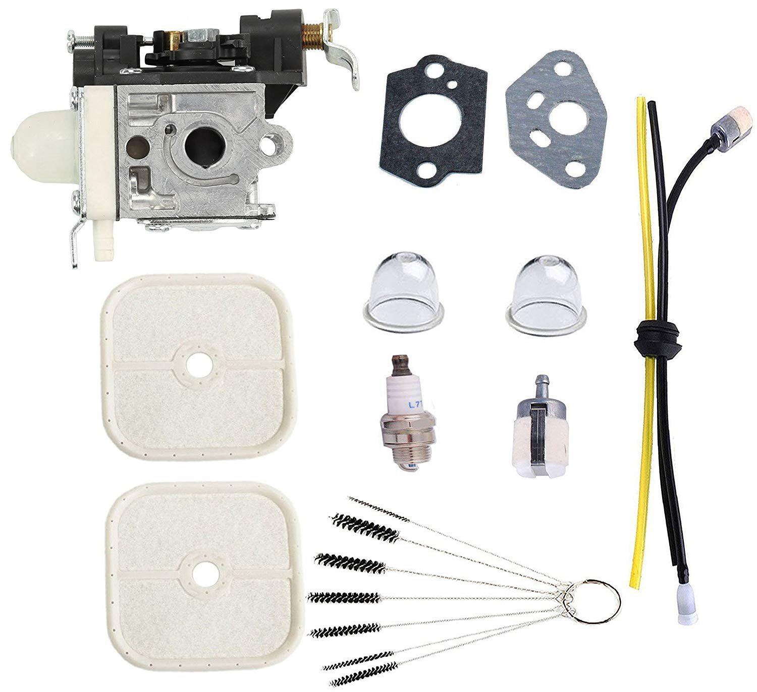 Podoy PB-251 Carburetor for Echo Parts Power Blowers Tune Up Kit Maintenance Fuel Line with Spark Plug Primer Bulb Brushes Cleaner Tool PB-265L RB-K85
