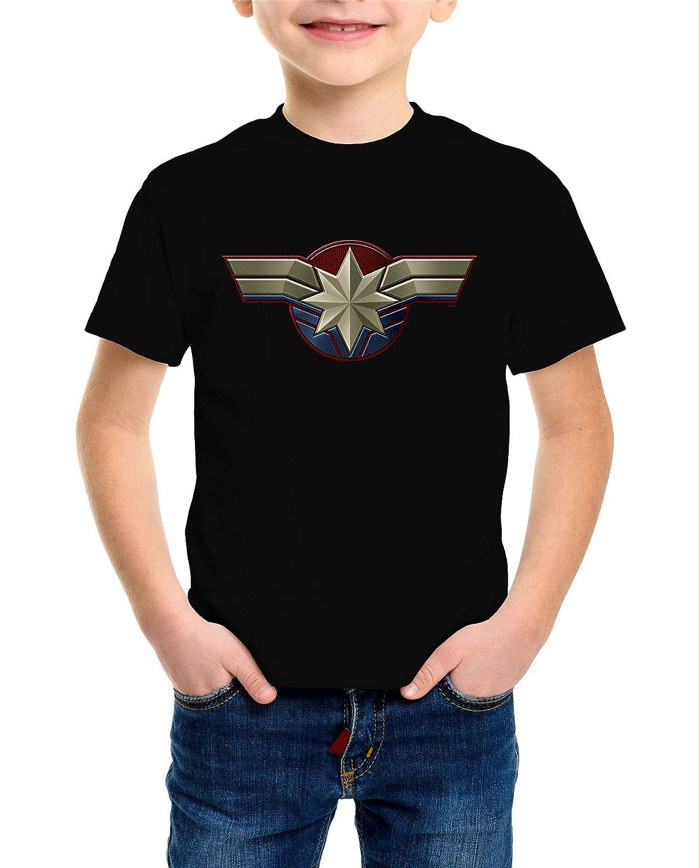 Captain Marvel Emblem Childrens Unisex Black T-Shirt