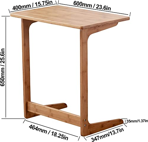 Zoopolyn Bamboo Laptop Tray Table End Table Coffee Snack TV Desk Sofa Side Table Office Furniture L Shape Nature
