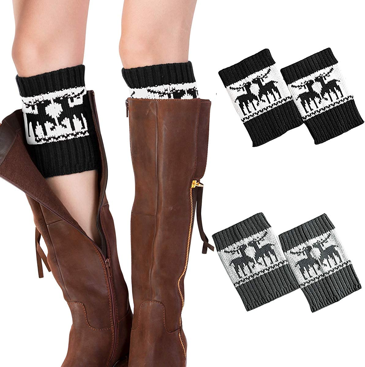 Womens Knit Crochet Cuffs Toppers Ankle Leg Warmers Legging Boot Socks Stocking