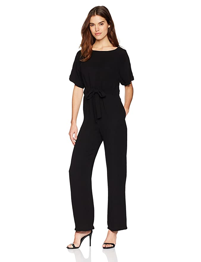 6e1384910f5d Amazon.com  French Connection Women s Patras Crepe Off The Shoulder Tie  Jumpsuit with Pockets  Clothing