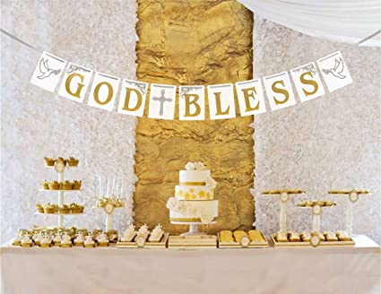 Amazon Com Usa Sales Christening Baptism Banner God Bless First