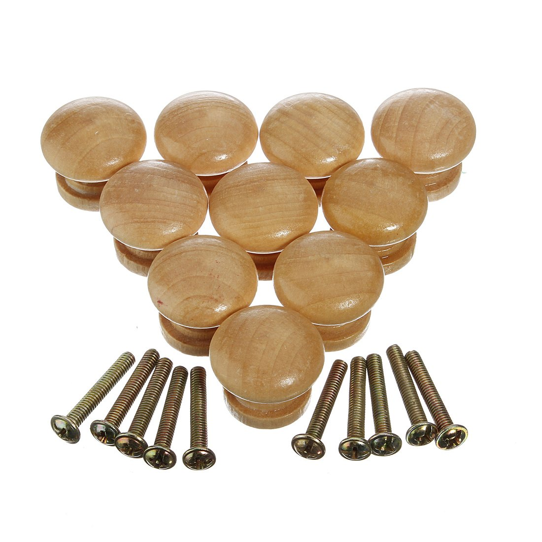 10Pcs Wood Pull Handle Cabinet Drawer Knob Kitchen Plain Door ...