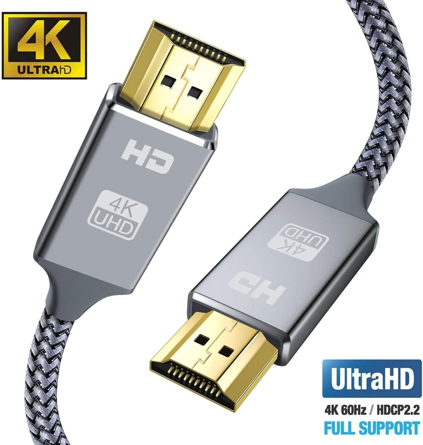 HDMI Cable 6.6feet 3D 4K HDMI Lead-Snowkids Ultra High Speed 18Gbps HDMI 2.0 Cable 4K@60Hz Compatible Fire TV Ethernet Function 3D Support HD 1080p Video 4K UHD 2160p Xbox PlayStation PS3 PS4 PC ect 2m