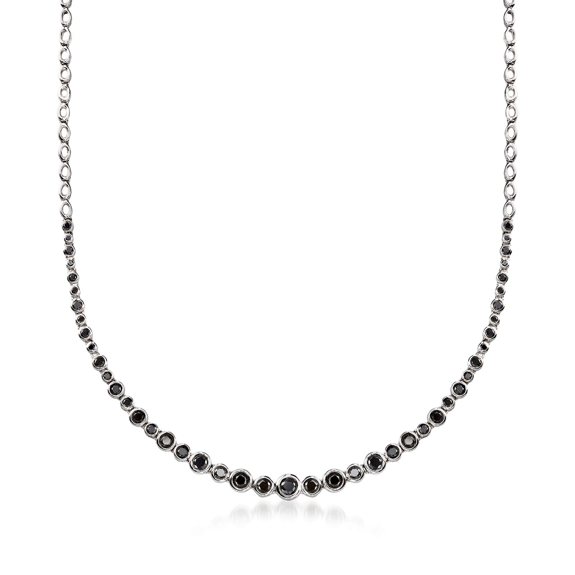 Ross-Simons 2.00 ct. t.w. Bezel-Set Black Diamond Graduated Necklace in Sterling Silver by Ross-Simons