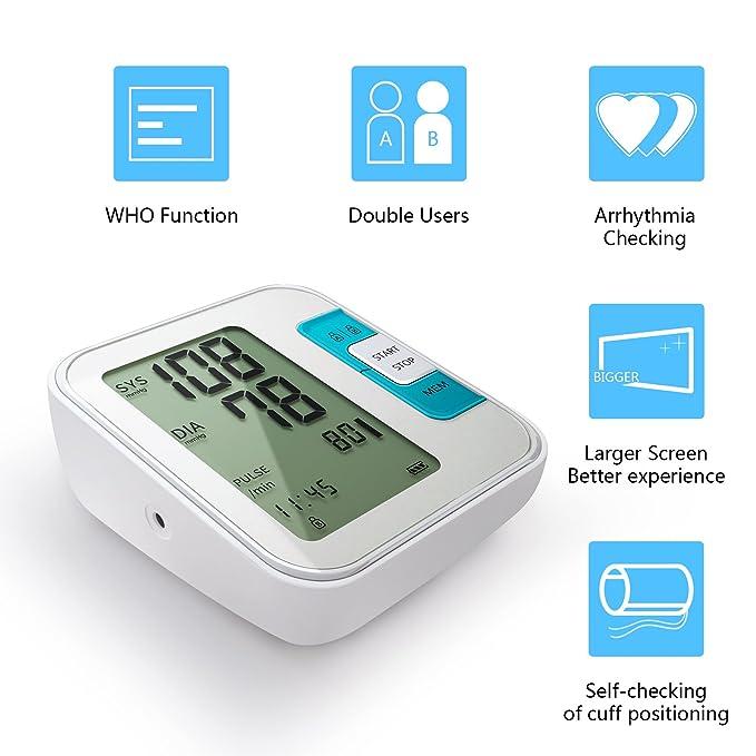 Tensiómetro de brazo, Meerveil digital Electrónico tension arterial Monitor de Presión Arterial et Ultra-delgado Certificado por CE, FDA,(memoria de lectura ...