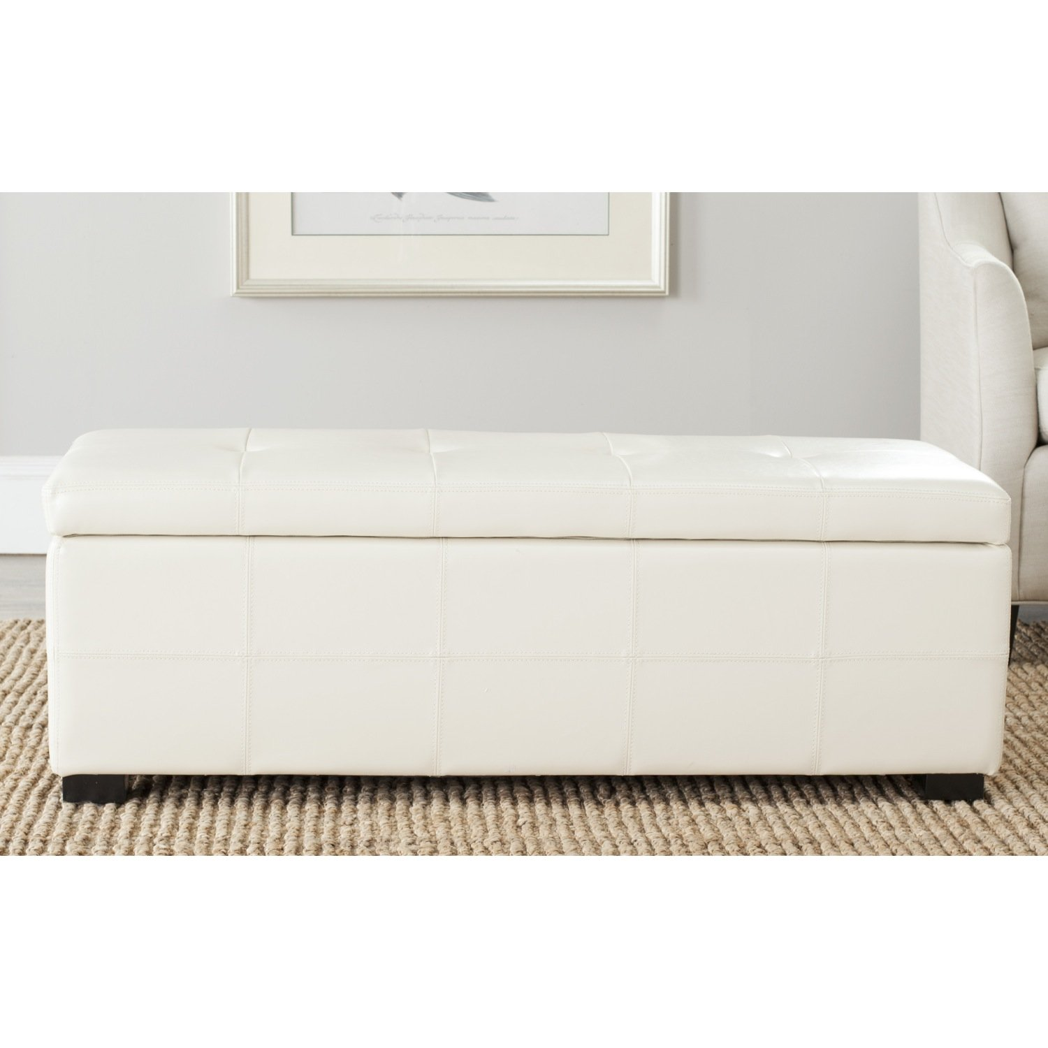 amazoncom safavieh hudson collection noho tufted cream leather large storage bench kitchen u0026 dining