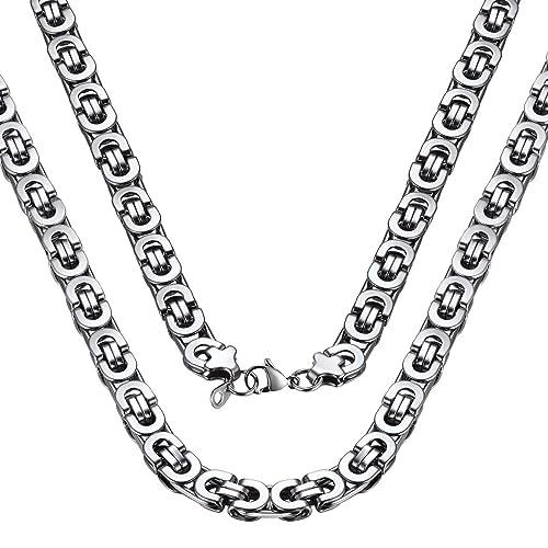Amazon.com: ChainsPro - Cadena bizantina para hombre, 4/6/8 ...