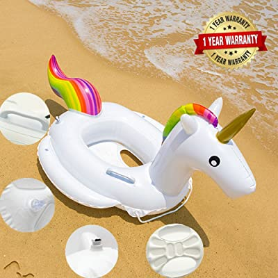FireBee Kids Unicorn Swim Ring Trainer Water Float Seat Inflatable Pool Raft Baby: Toys & Games