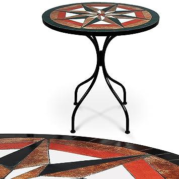 Table en pierre de mosaïque Ø 60cm 4 pieds - Intérieur extérieur ...