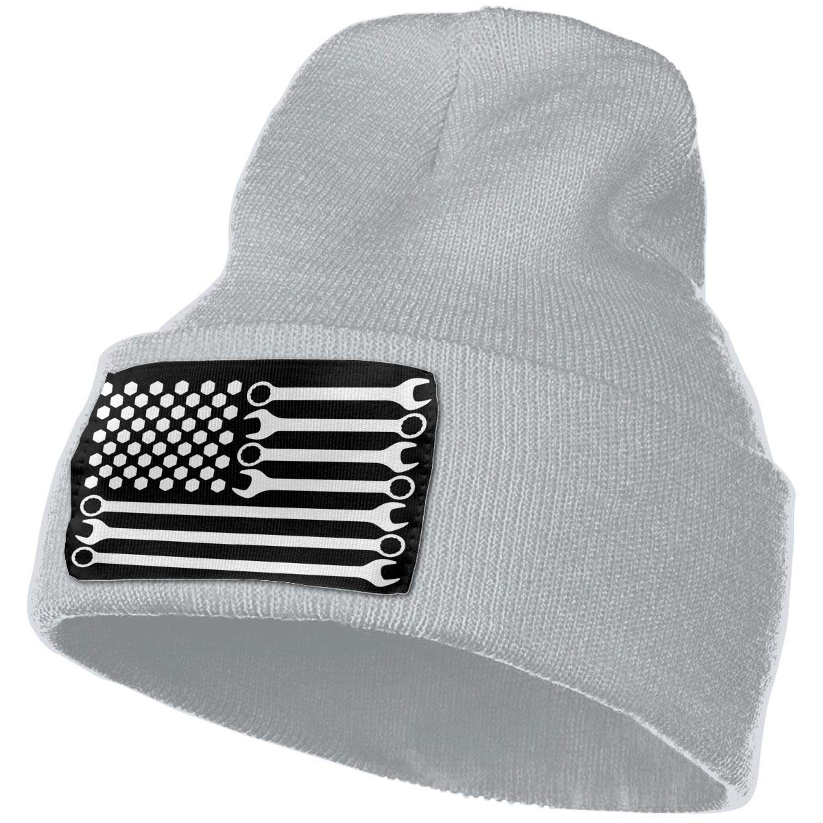 COLLJL-8 Unisex Mechanic DIY Wrench American Flag Outdoor Stretch Knit Beanies Hat Soft Winter Skull Caps