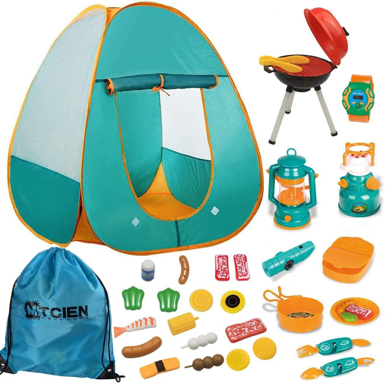 Mitcien Kids Camping Gear Set with Pop Up Play Tent for Kids Toddler Indoor Outdoor Toys Pretend BBQ Play Set for Boys Girls Camping Tools, 17 Pieces