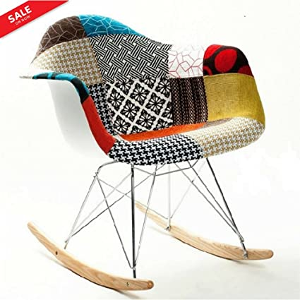 Arm Rocking Chair Stylish Patchwork Pattern Contemporary Look Living Room  Βedroom Εntrance Comfortable And Delicate Ergonomic