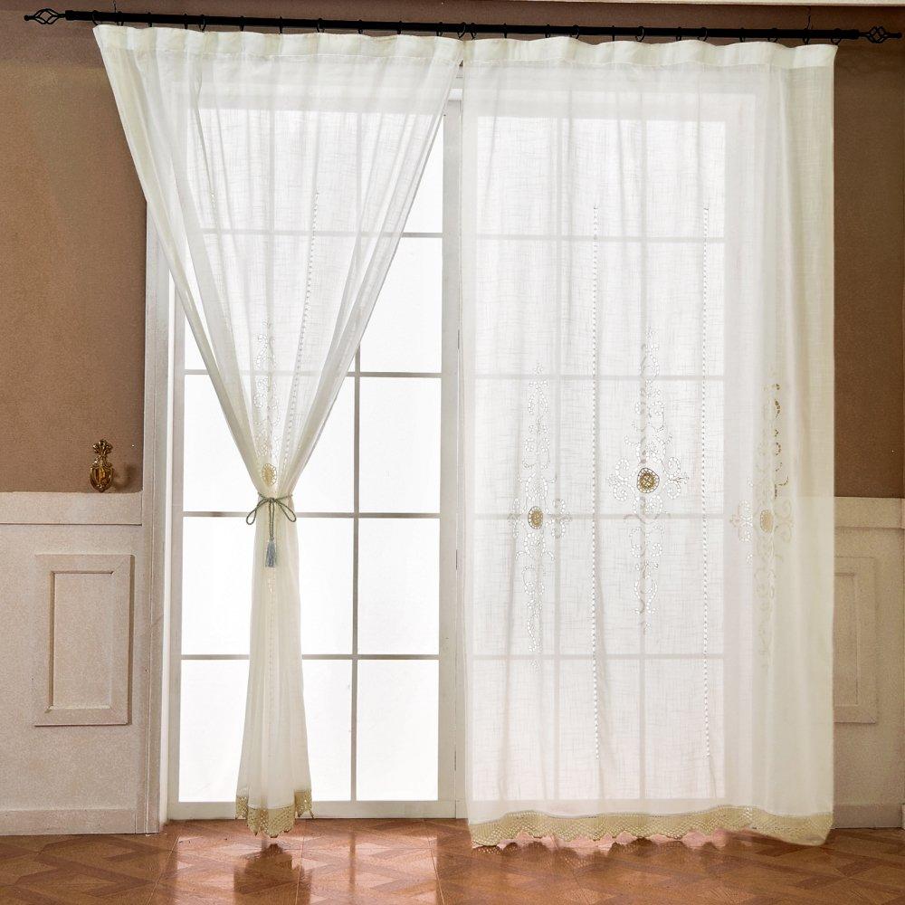 ZHH Tende in voile, a mano Hollow crochet pizzo finestra tenda a pannello di – 1 pezzo, bianco, Tessuto, 150 x 260cm