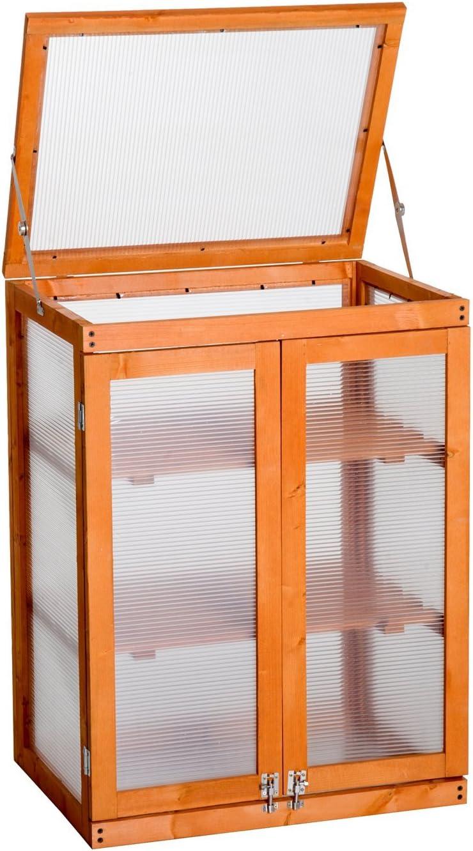 Outsunny - Invernadero de 3 Niveles de Madera con Marco frío de policarbonato, Invernadero al Aire Libre para Plantar Flores y Verduras (58 cm de Largo x 44 cm de Ancho x