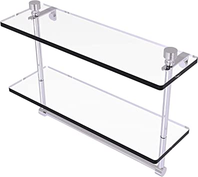 Allied Brass Ft 2 16tb Foxtrot Collection 16 Inch Two Tiered Integrated Towel Bar Glass Shelf Polished Chrome Mounted Bathroom Shelves Amazon Com
