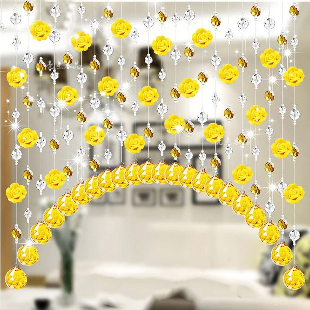 JiaMeng Crystal Glass Rose Bead Cortina Sala Dormitorio ...