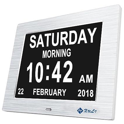 Calendario Giorno.Calendario Orologio Giorno Con Extra Large Non Abbreviato Day Mese Aggiornamento Xuli Digital Orologio Per Persone Che Soffrono Di Alzheimer