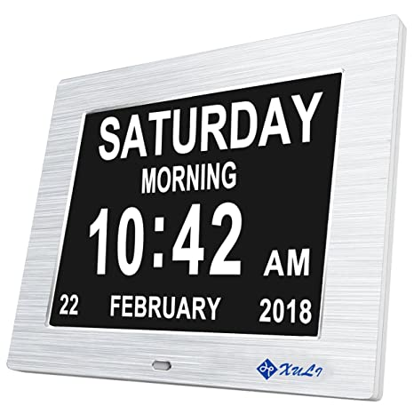 Digital Calendario Día Reloj con No abkürzungen Día y Mes – Actualizar – 8 pulgadas xuli