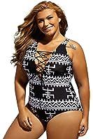 Dearlove Women's Sexy Lace Up V Neck One Piece Swimsuit Swimwear Plus Size