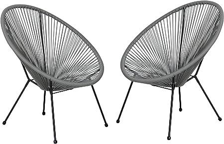 Autrefois Acapulco 2 Egg Chairs With 4 Feet Grey Thread Amazon Co