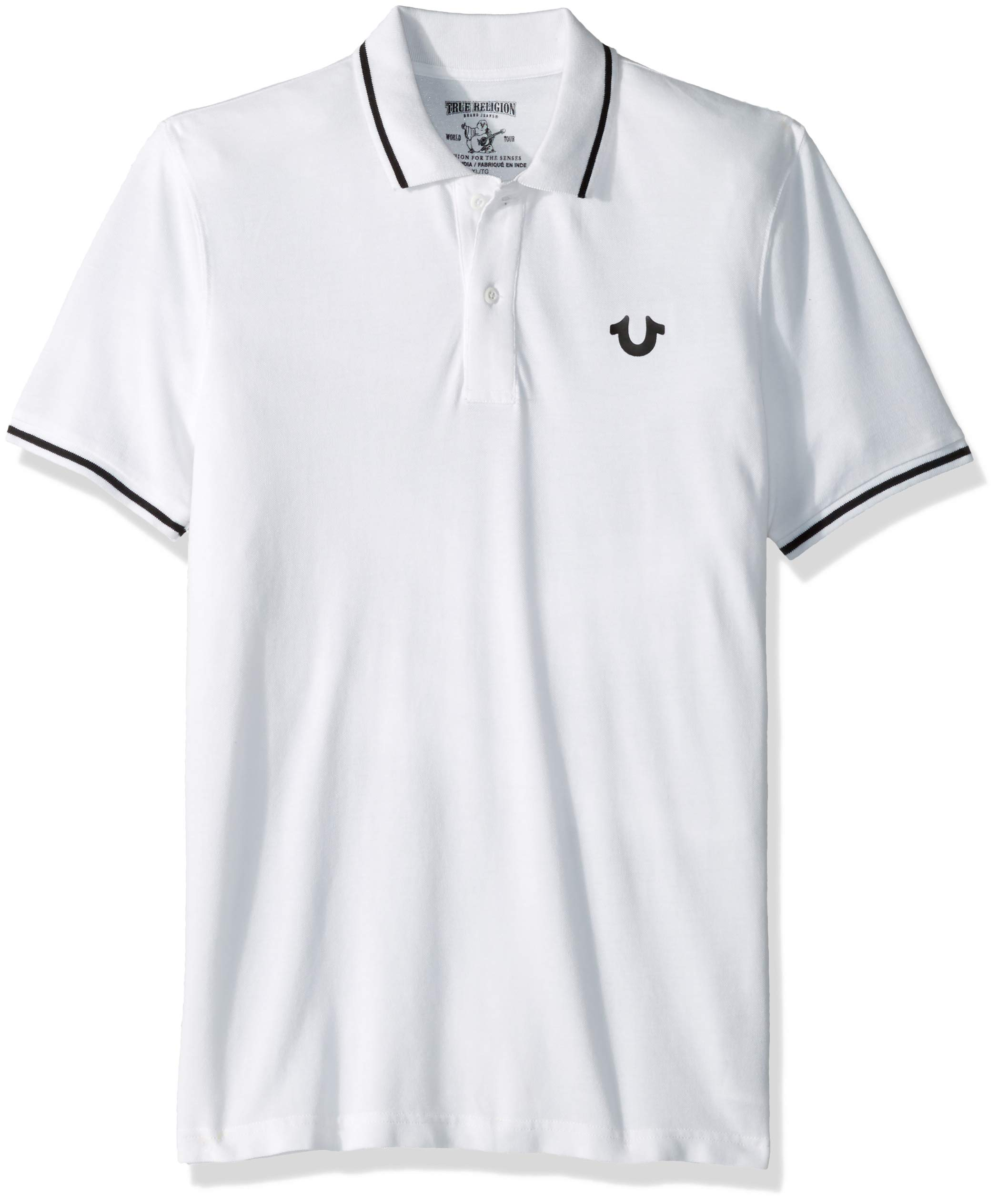 True Religion Men's Crafted with Pride Polo, White with Black Piping, XXL