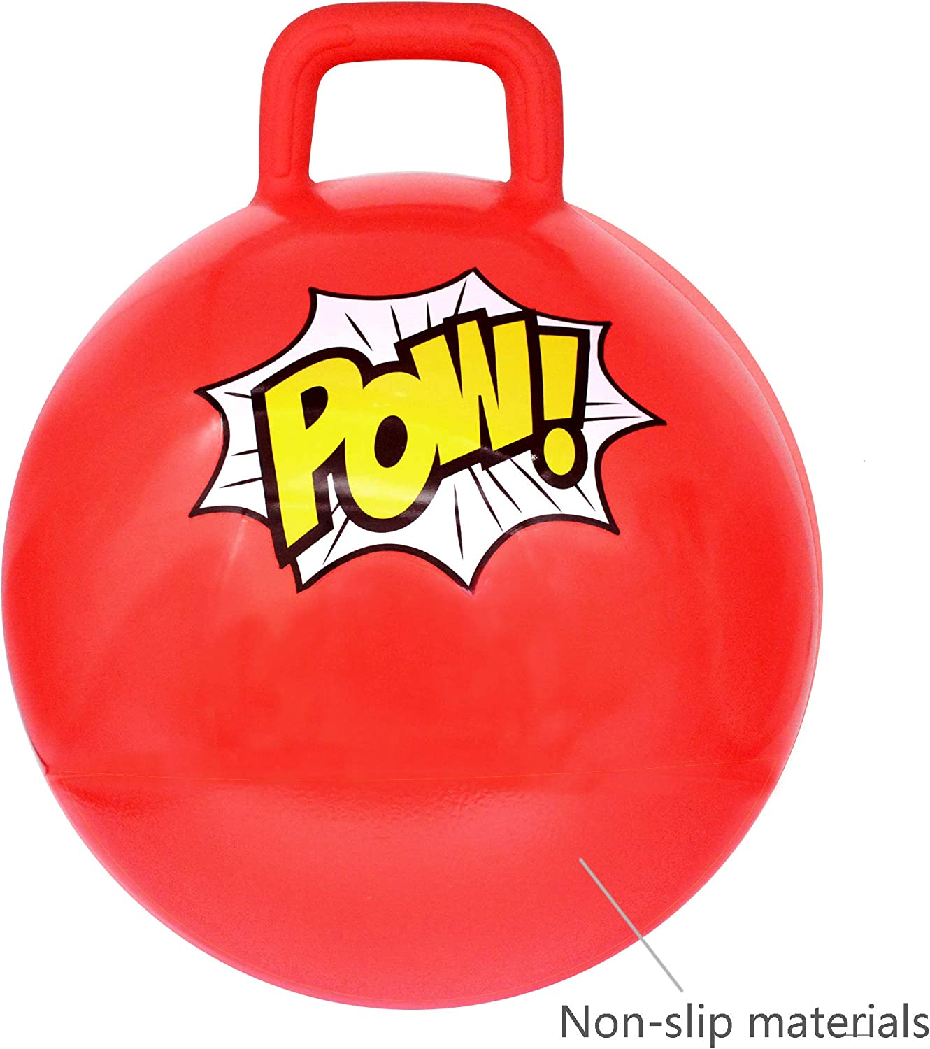 16 Inch Diameter Superhero Pary Gift Red Free Foot Pump Animism Hopping Ball for Kids Jumping Ball with Handle
