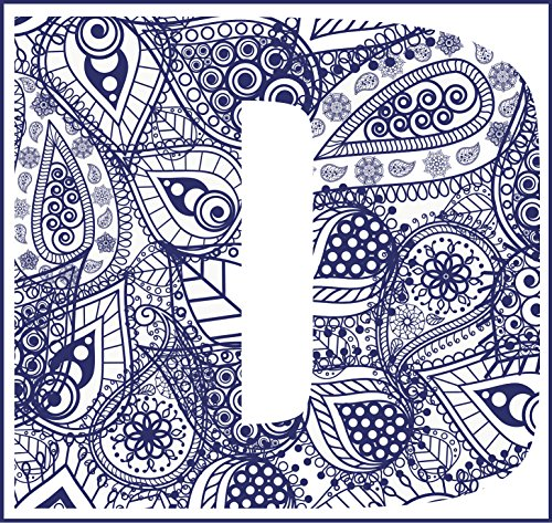 "Navy Blue Paisley Pattern D Monogram Vinyl Decal Sticker (4"" Wide)"