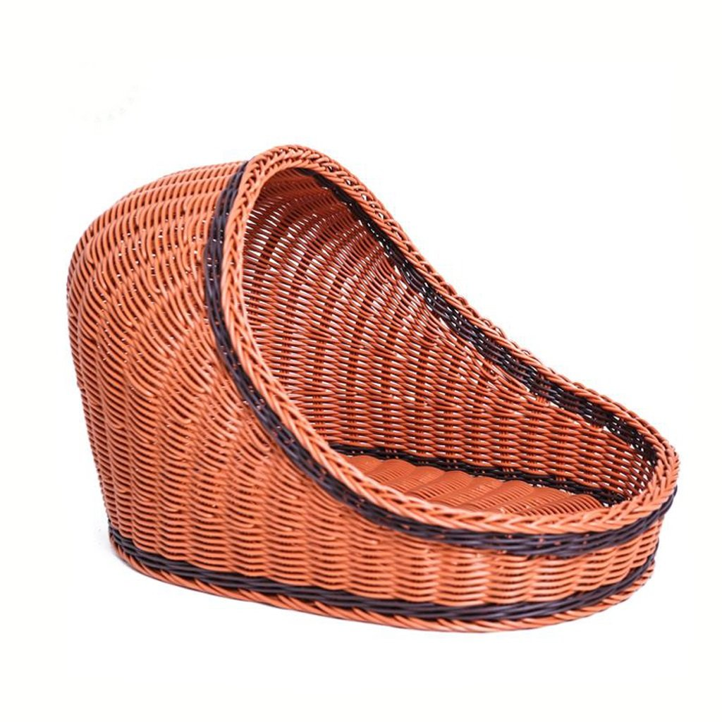 Brown Small Brown Small CL- pet bed Pet House Cat House Dog Bed Kennel Puppy Nest Hand Made Rattan Easy To Clean Pet Supplies SY (color   BROWN, Size   S)