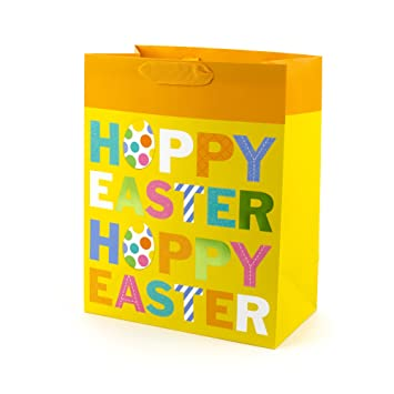 Hallmark large hoppy easter gift bag yellow amazon home kitchen hallmark large hoppy easter gift bag yellow negle Images